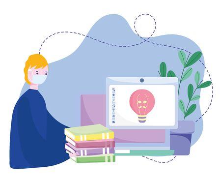 online training, boy with mask computer books creativity homework, courses knowledge development using internet vector illustration
