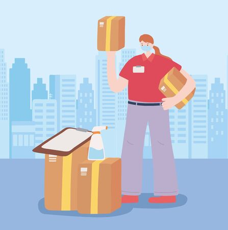 thank you essential workers, delivery woman with boxes and clipboard, wearing face mask, coronavirus covid 19 disease vector illustration