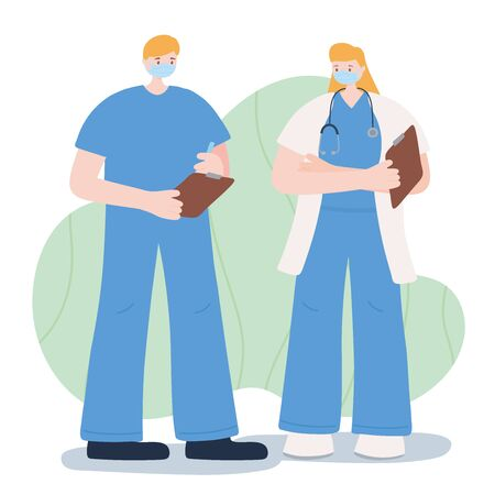 thank you essential workers, male and female doctors, wearing face masks, coronavirus covid 19 disease vector illustration
