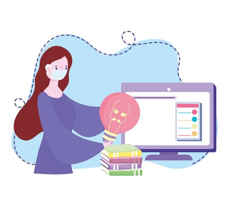 online training, woman with mask bulb computer and books, courses knowledge development using internet vector illustration