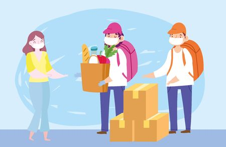 safe delivery at home during coronavirus covid-19, courier men with grocery bag and boxes for customer vector illustration
