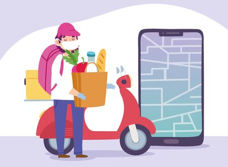 safe delivery at home during coronavirus covid-19, courier man with grocery bag scooter and smartphone vector illustration