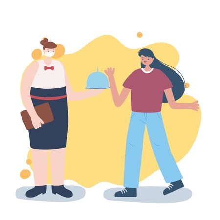 thank you essential workers, waitress with platter and customer, wearing face mask, coronavirus covid 19 disease vector illustration