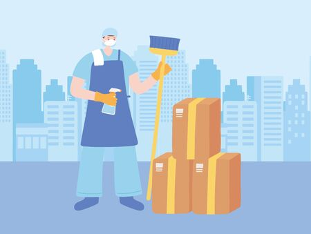 thank you essential workers, cleaner man with broom and cardboard boxes, wearing face masks, coronavirus covid 19 disease vector illustration 向量圖像
