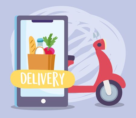 safe delivery at home during coronavirus covid-19, scooter smartphone grocery bag food ordering vector illustration