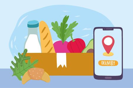 safe delivery at home during coronavirus covid-19, ordering smartphone cardboard box with food vector illustration