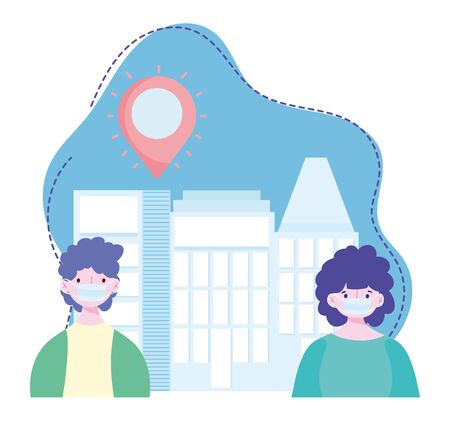 young people with medical mask city street coronavirus covid 19 outbreak vector illustration