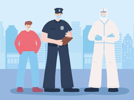 thank you essential workers, policeman and doctor wearing face masks and boy, coronavirus covid 19 disease vector illustration