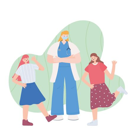 thank you essential workers, female physician with happy girls, wearing face mask, coronavirus covid 19 disease vector illustration