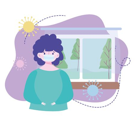 young character with medical mask in the home, prevention quarantine covid 19 vector illustration