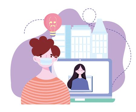 online training, man with mask and girl in video screen computer, courses knowledge development using internet vector illustration