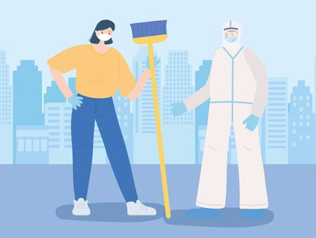 thank you essential workers, cleaner woman with broom and doctor with protective suit, wearing face masks, coronavirus covid 19 disease vector illustration