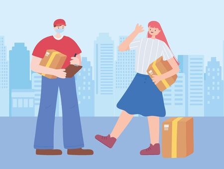 thank you essential workers, delivery man and customer with boxes, wearing face mask, coronavirus covid 19 disease vector illustration