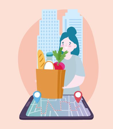 safe delivery at home during coronavirus covid-19, customer with grocery bag on smartphone location pointer city vector illustration Vectores