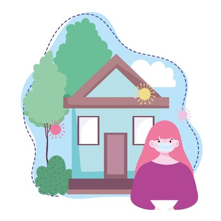 young girl with protective mask house stay at home coronavirus covid 19 vector illustration