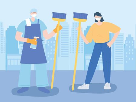 thank you essential workers, cleaner man and woman with broom, wearing face masks, coronavirus covid 19 disease vector illustration