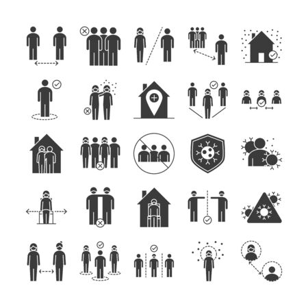 covid 19 coronavirus social distancing prevention, outbreak spreading vector illustration silhouette style icons set