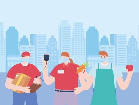 thank you essential workers, group delivery workers and farmer, wearing face masks, coronavirus covid 19 disease vector illustration 向量圖像