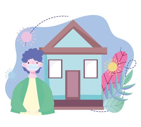 young man with medical mask outside home, coronavirus covid 19 outbreak design vector illustration