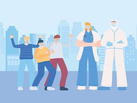 thank you essential workers, staff medical with protective suit and group people, coronavirus covid 19 disease vector illustration