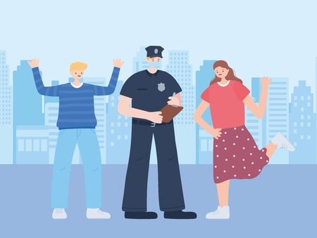 thank you essential workers, policeman wearing mask and happy people, coronavirus covid 19 disease vector illustration 向量圖像