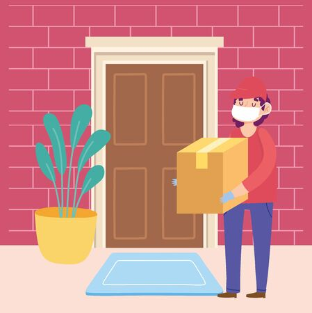 safe delivery at home during coronavirus covid-19, courier man carrying cardboard box in door home vector illustration Vectores