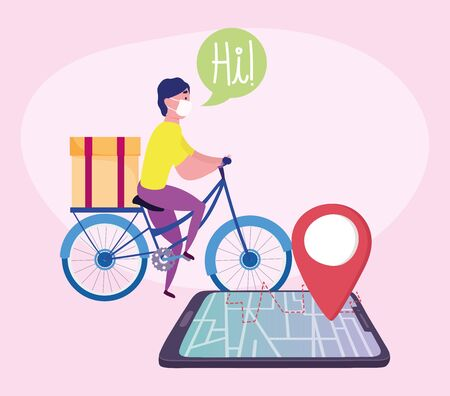 safe delivery at home during coronavirus covid-19, courier man with medical mask riding bike, smartphone gps navigation vector illustration