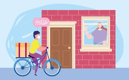 safe delivery at home during coronavirus covid-19, courier man with mask riding bike and customer looking out the window vector illustration Vectores