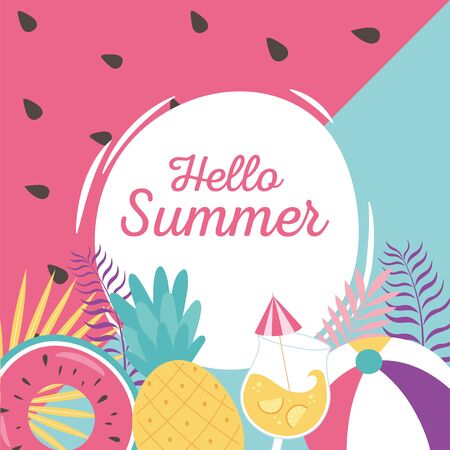 hello summer, tropical pineapple float ball cocktail leaves badge vector illustration