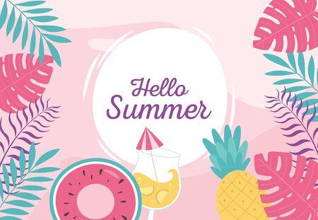 hello summer, tropical leaves foliage float cocktail pineapple badge vector illustration Banco de Imagens - 150078514