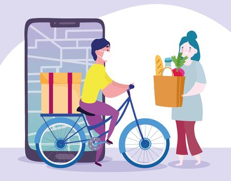 safe delivery at home during coronavirus covid-19, courier man on bike and customer with grocery bag, smartphone order online vector illustration 向量圖像