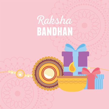 raksha bandhan, bracelet candle and gift boxes with mandalas of love brothers and sisters indian event vector illustration Vettoriali