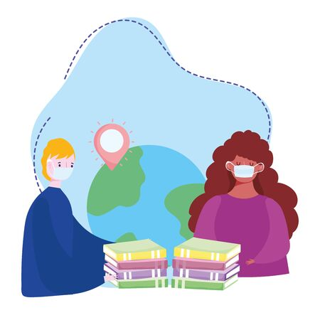 online training, people with medical mask world books, courses knowledge development using internet vector illustration