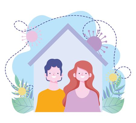 stay at home, couple together in house prevention coronavirus covid 19 outbreak vector illustration