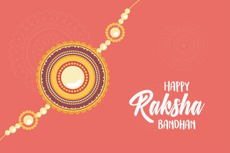 raksha bandhan, traditional indian wristband symbol of love between brothers and sisters vector illustration Vettoriali
