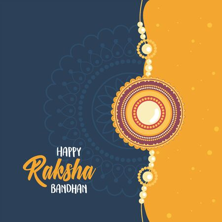 raksha bandhan, decorated bracelet of relation brothers and sisters indian celebration vector illustration