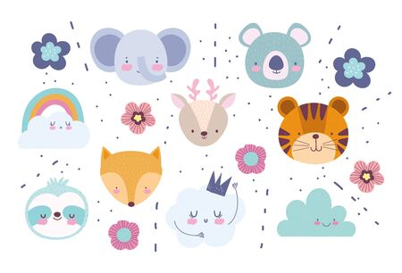 faces elephant fox tiger deer koala flowers rainbow clouds cartoon cute animals characters background vector illustration