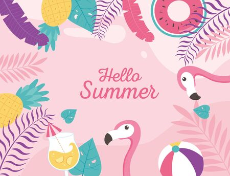 flamingos cocktail beach ball float exotic tropical leaves, hello summer lettering vector illustration