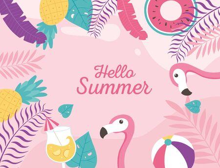 flamingos cocktail beach ball float exotic tropical leaves, hello summer lettering vector illustration Banco de Imagens - 150078733