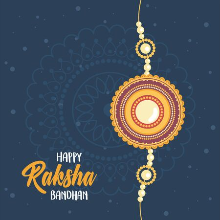 raksha bandhan, indian wristband symbol of love between brothers and sisters dark background vector illustration