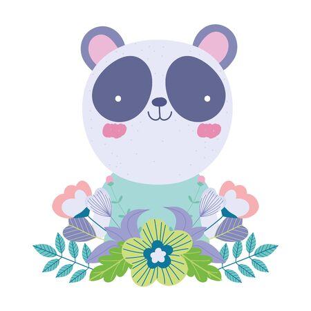 panda flowers leaves cartoon cute animal characters nature design vector illustration