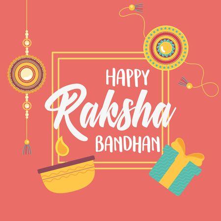 raksha bandhan, bracelets gift box and candle love brothers and sisters indian celebration vector illustration