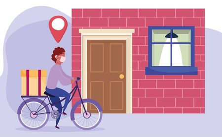 safe delivery at home during coronavirus covid-19, courier man riding bicycle with box in home vector illustration