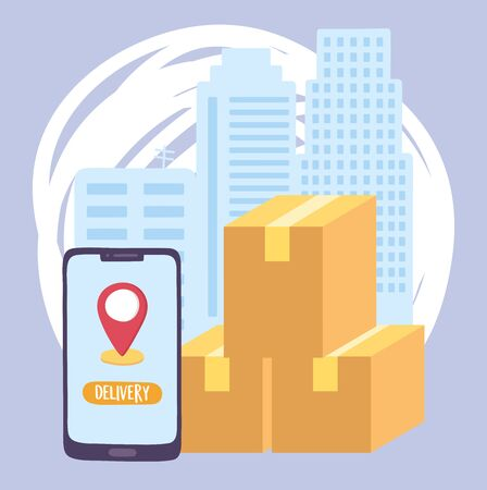 safe delivery at home during coronavirus covid-19, smartphone cardboard boxes city service vector illustration