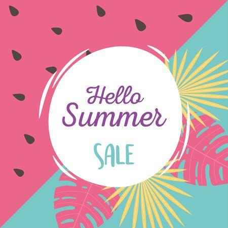 exotic tropical leaves watermelon background, hello summer sale lettering vector illustration Banco de Imagens - 150082440