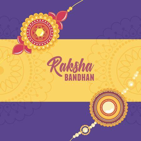 raksha bandhan, floral bracelet with gems symbol of love brothers and sisters indian celebration vector illustration
