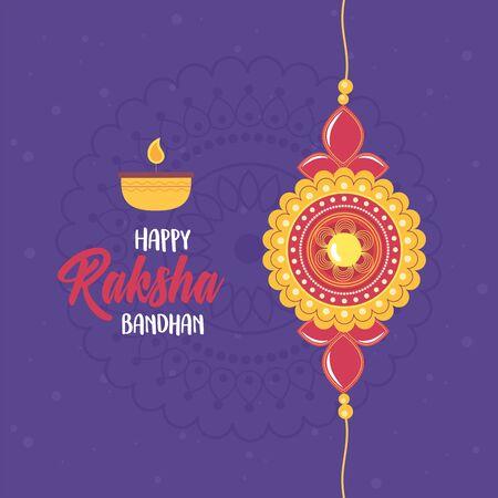 raksha bandhan, bracelet love brothers and sisters indian, candle lettering celebration vector illustration