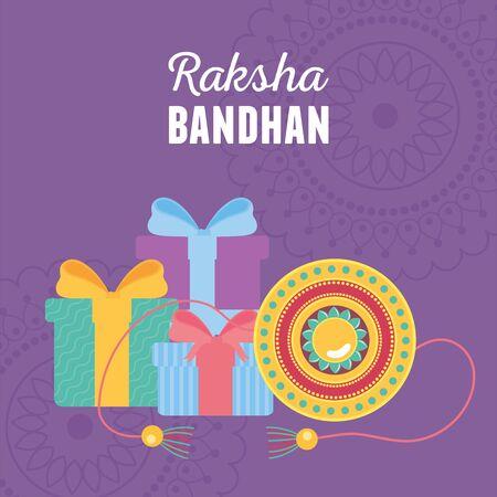 raksha bandhan, traditional bracelet and gifts celebration of love brothers and sisters indian festival vector illustration