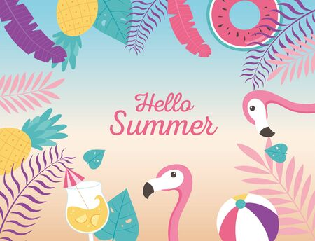 flamingos ball float cocktail pineapple exotic tropical leaves, hello summer lettering vector illustration Banco de Imagens - 150078488