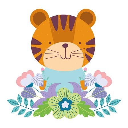 little tiger flowers cartoon cute animal characters leaves nature design vector illustration